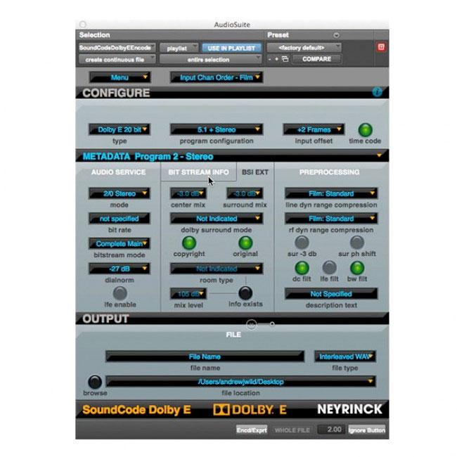 Neyrinck SoundCode for Dolby E Encoder